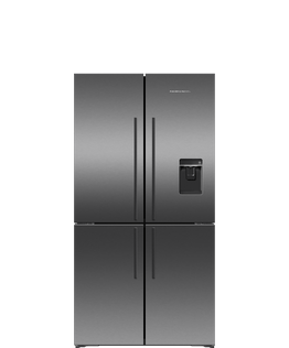 Freestanding Quad Door Refrigerator Freezer, 90.5cm, 605L, Ice & Water