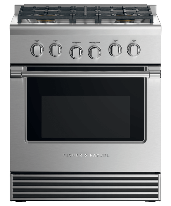 "Dual Fuel Range, 30"", 4 Burners, LPG, pdp"