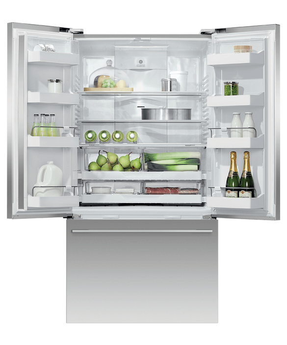 Freestanding French Door Refrigerator Freezer, 90cm, 614L, Ice, pdp