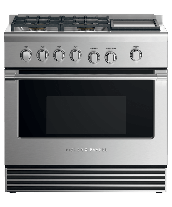 "Gas Range, 36"", 4 Burners with Griddle, pdp"