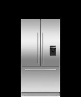 Integrated French Door Refrigerator Freezer, 90cm, Ice & Water