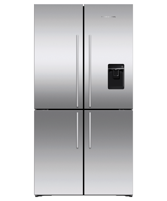 Freestanding Quad Door Refrigerator Freezer , 90.5cm, 605L, Ice & Water, pdp