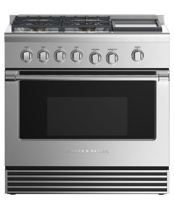 """Gas Range, 36"""", 4 Burners with Griddle, pdp"""