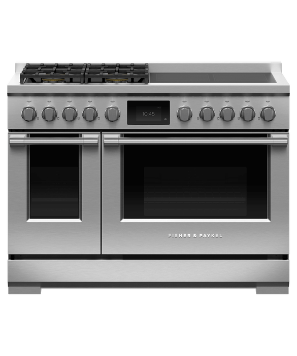 "Dual Fuel Range, 48"", 4 Burners, 4 Induction Zones, Self-cleaning, pdp"