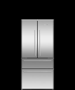 Freestanding French Door Refrigerator Freezer, 79cm, 523L, Ice & Water
