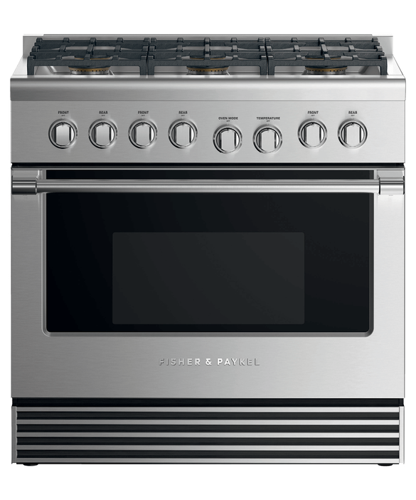 "Dual Fuel Range, 36"", 6 Burners, LPG, pdp"