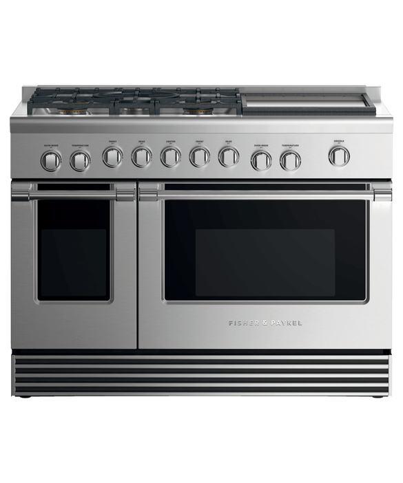 "Dual Fuel Range, 48"", 5 Burners with Griddle, LPG, pdp"
