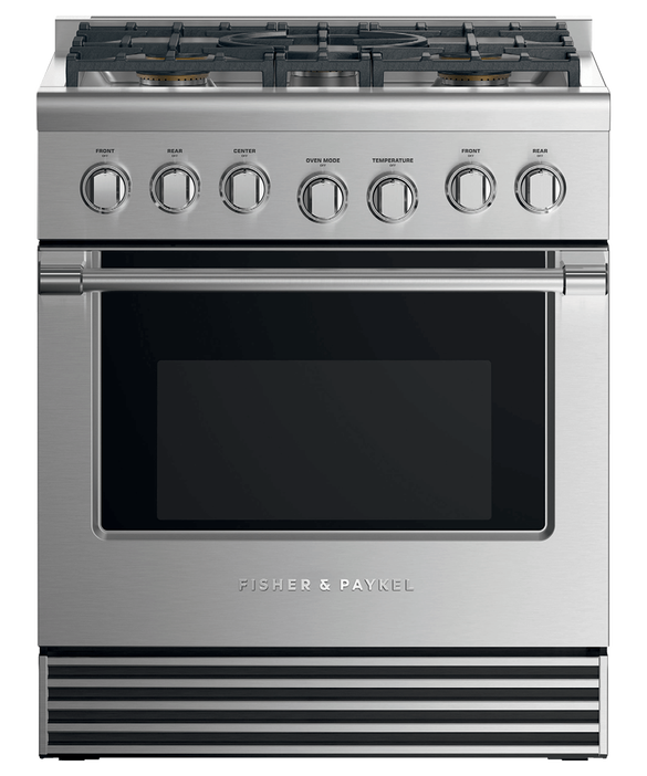 "Dual Fuel Range, 30"", 5 Burners, LPG, pdp"