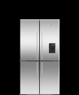 Freestanding Quad Door Refrigerator Freezer , 90.5cm, 605L, Ice & Water