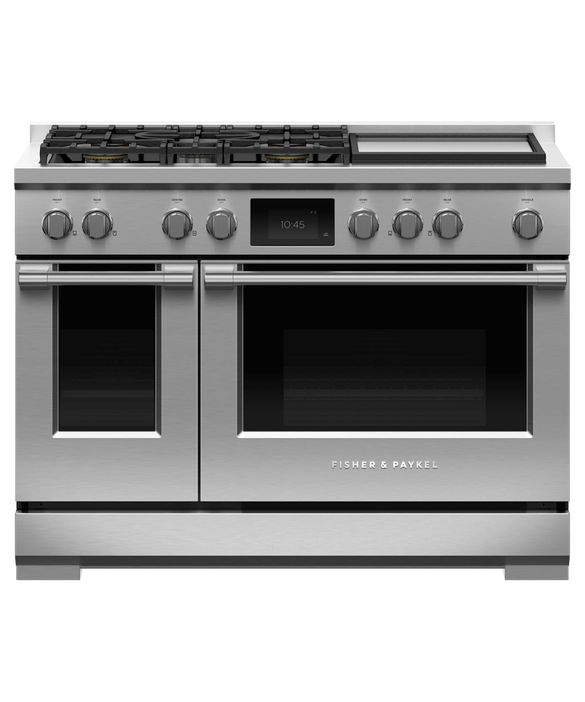 "Dual Fuel Range, 48"", 5 Burners with Griddle, Self-cleaning, pdp"