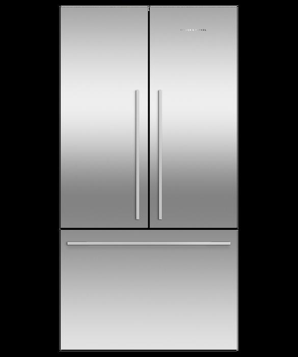 Freestanding French Door Refrigerator Freezer, 90cm, 569L, Ice, pdp