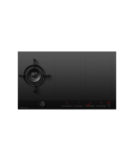 Gas + Induction Cooktop, 90cm, 1 Burner, 4 Zones with SmartZone