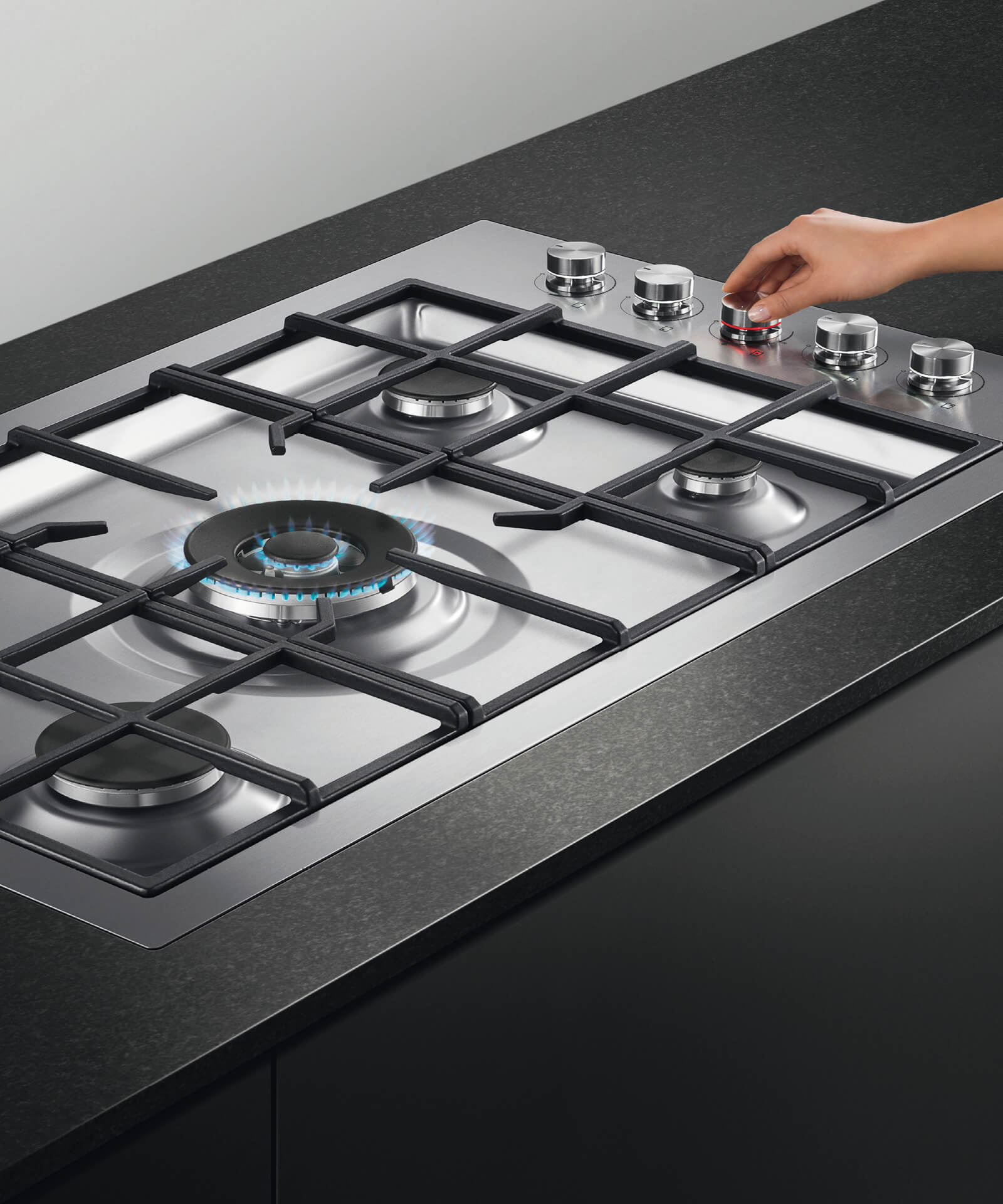 5 Burner Gas Cooktops: 90cm Flush Gas On Steel Cooktop