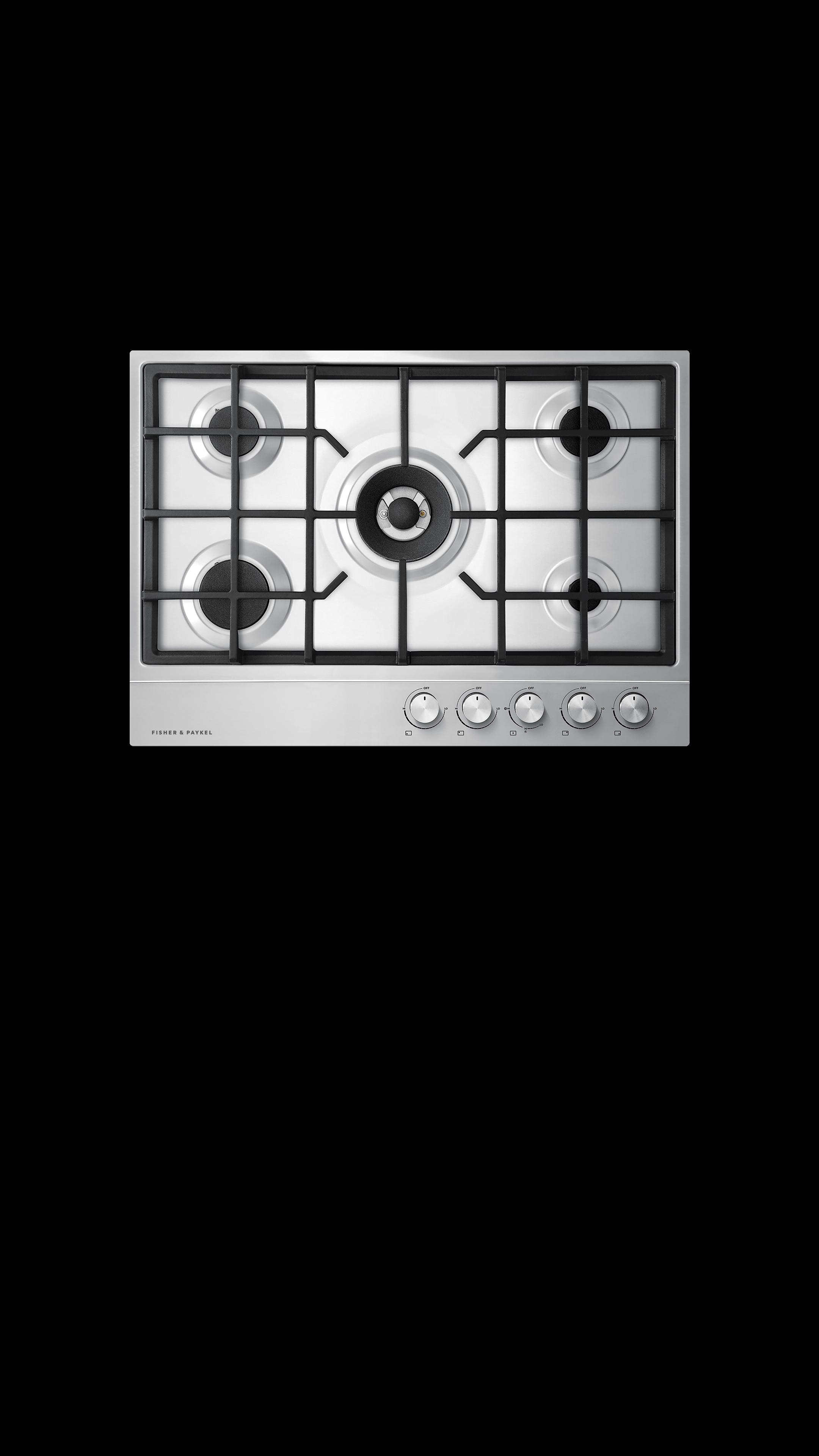 "Model: CG305DNGX1_N   Fisher and Paykel Gas on Steel Cooktop, 30"" 5 Burner"