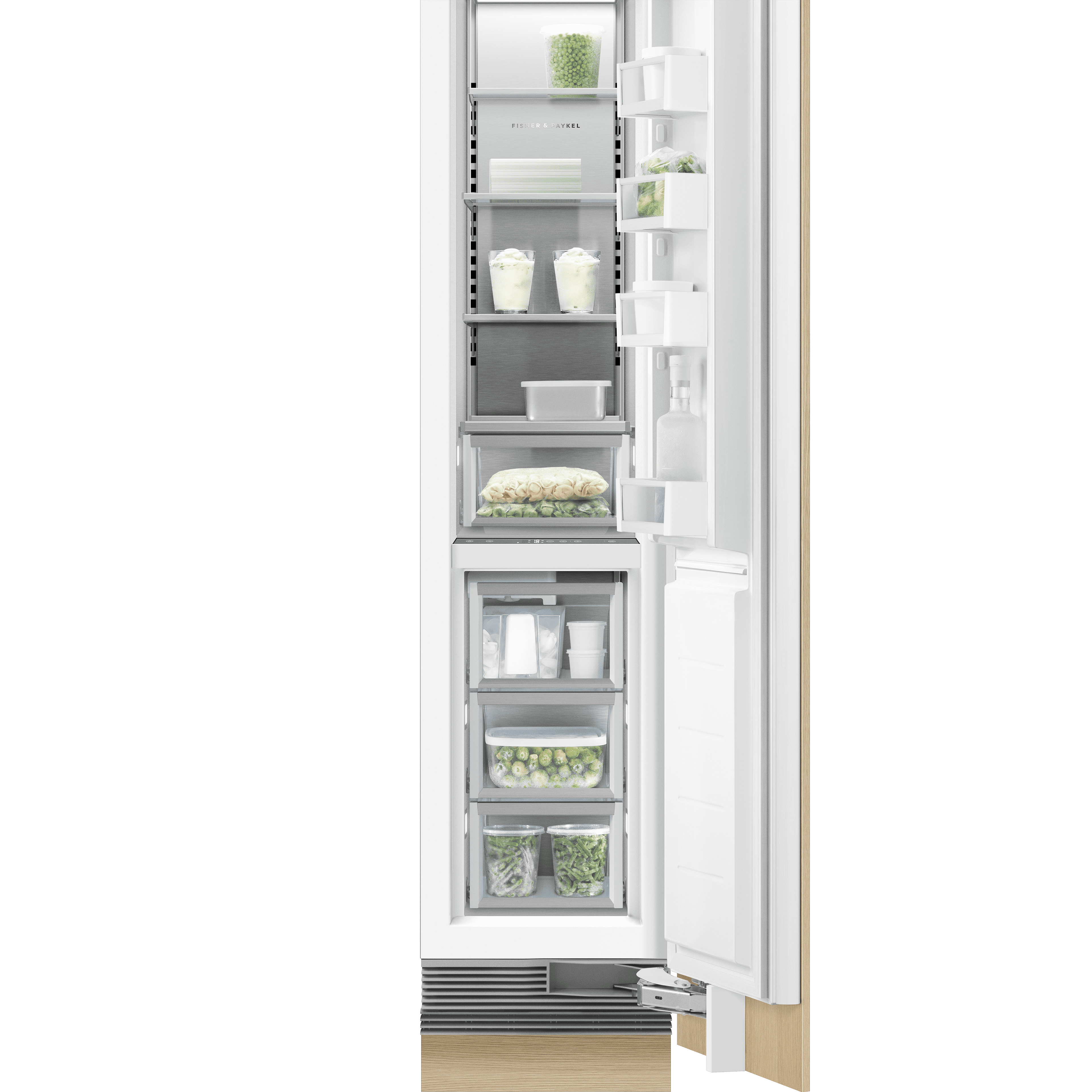 "Integrated Column Freezer 18"", Stainless Steel Interior"