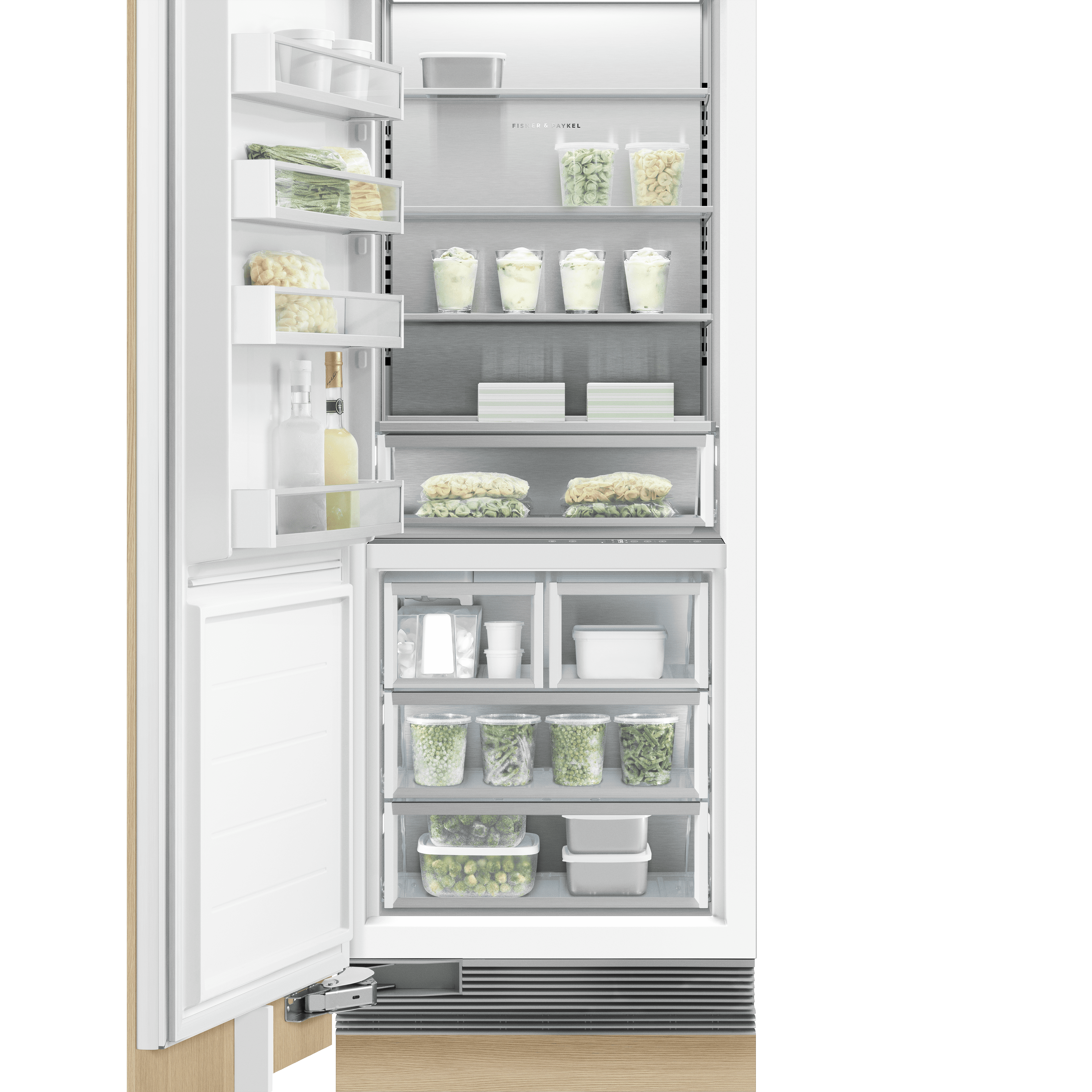 "Integrated Column Freezer 30"", Stainless Steel Interior"