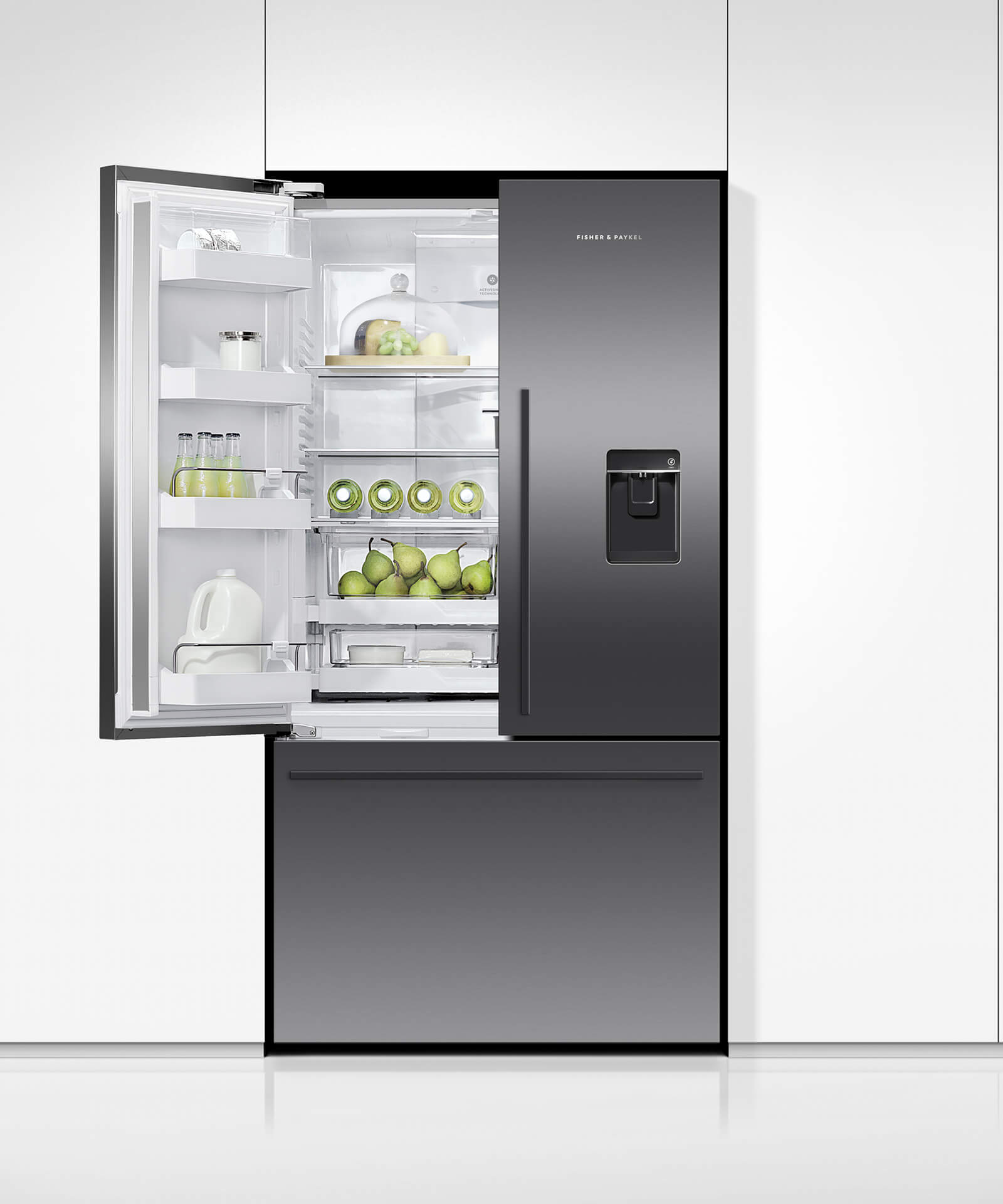 Black bottom freezer refrigerator french doors