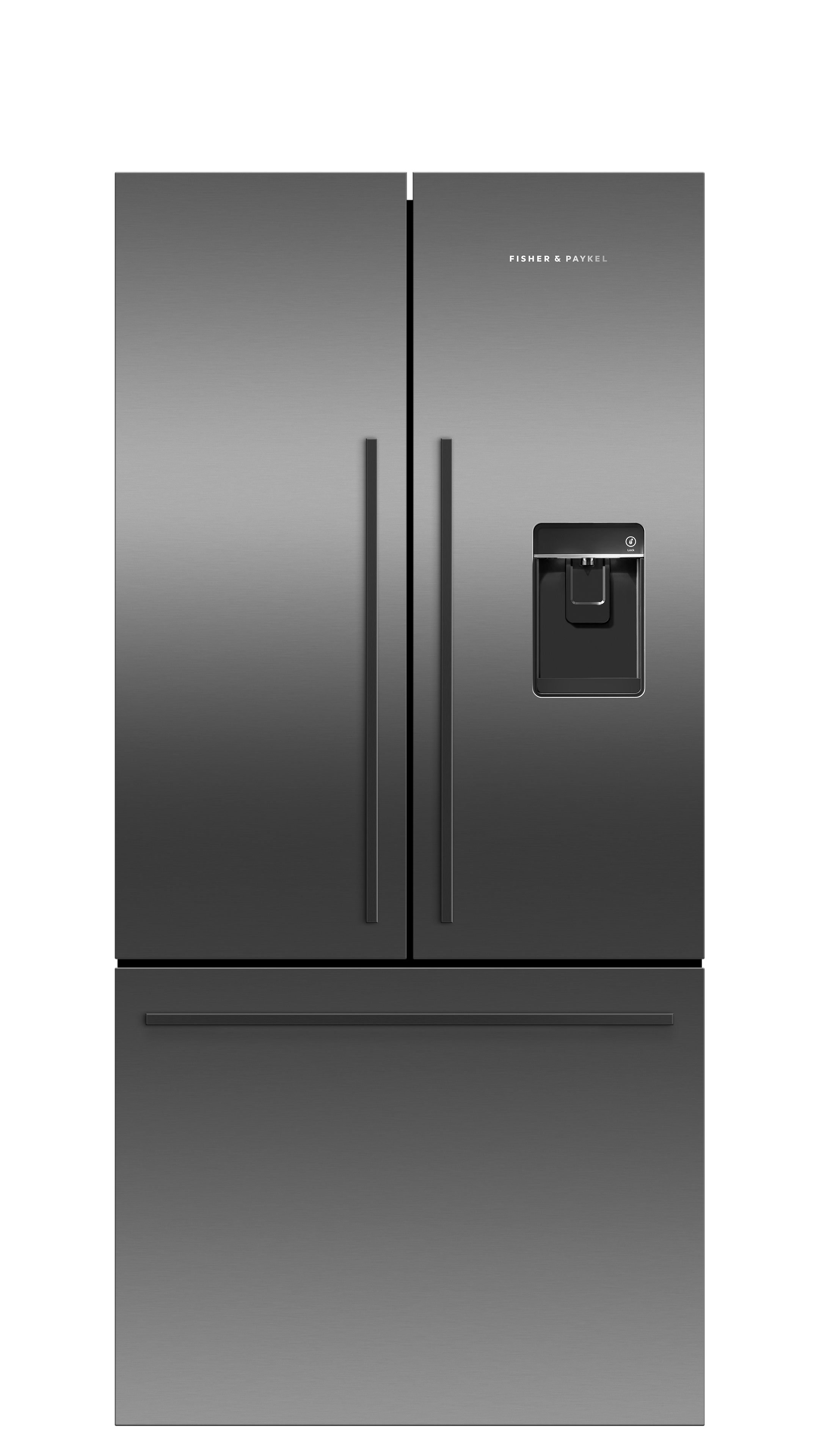 Model: RF170ADUSB5 | Fisher and Paykel Black Stainless Steel French Door Refrigerator, 17 cu ft, Ice & Water