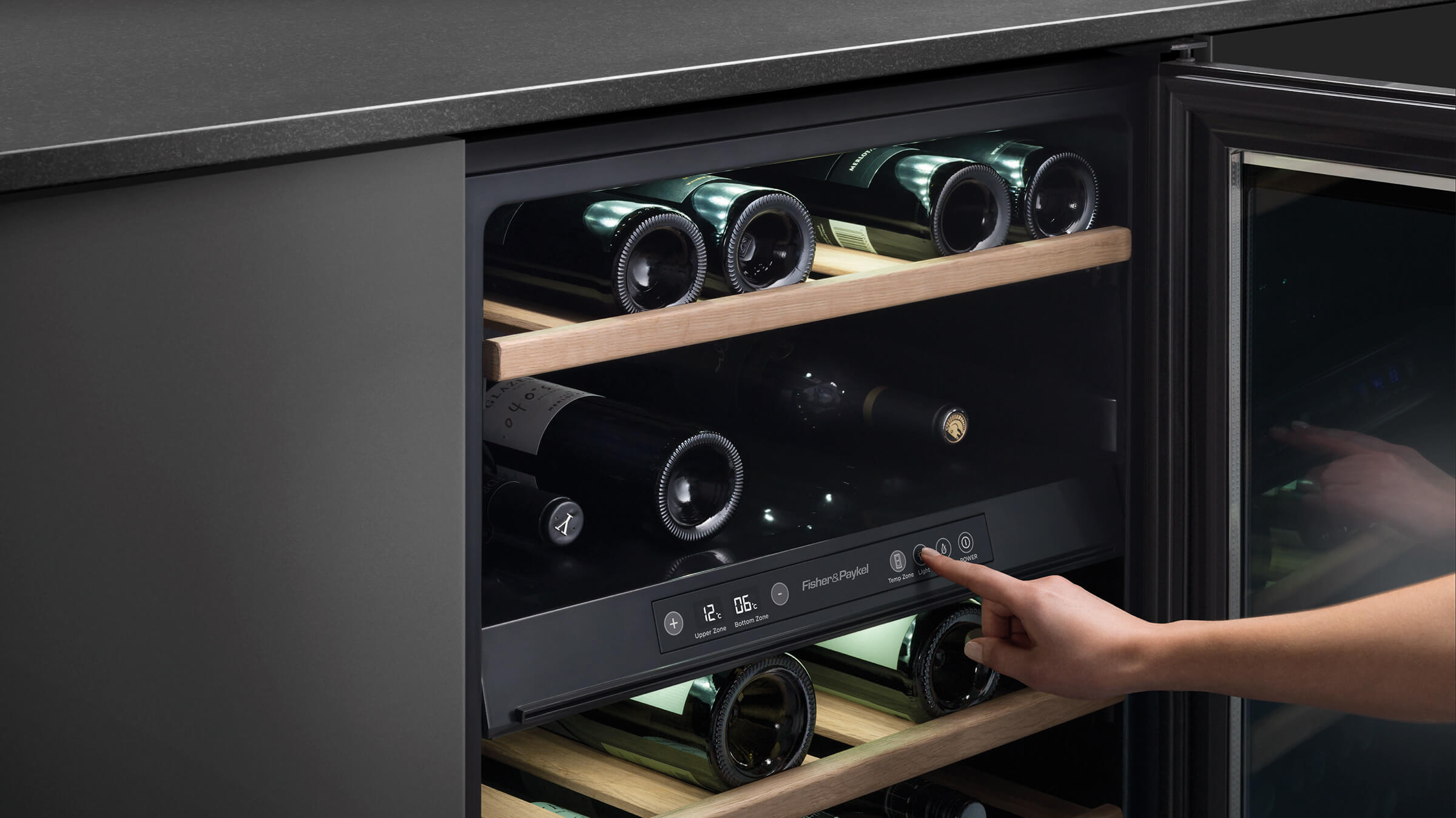 Serving Temperature Cooling Systems Wine Guardian Total Control Rs60rdwx1 32 Bottle Dual Zone Fisher Paykel Liances