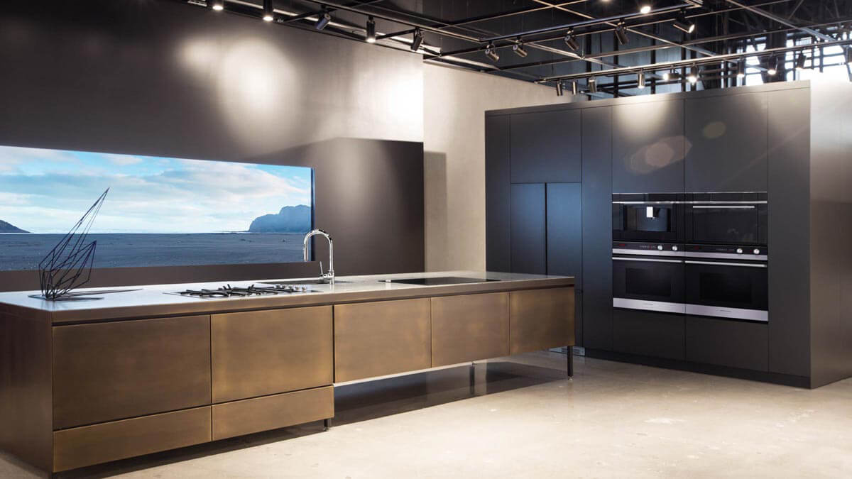 Demonstration Kitchen Featuring Fisher & Paykel Appliances at Costa Mesa Experience Center.