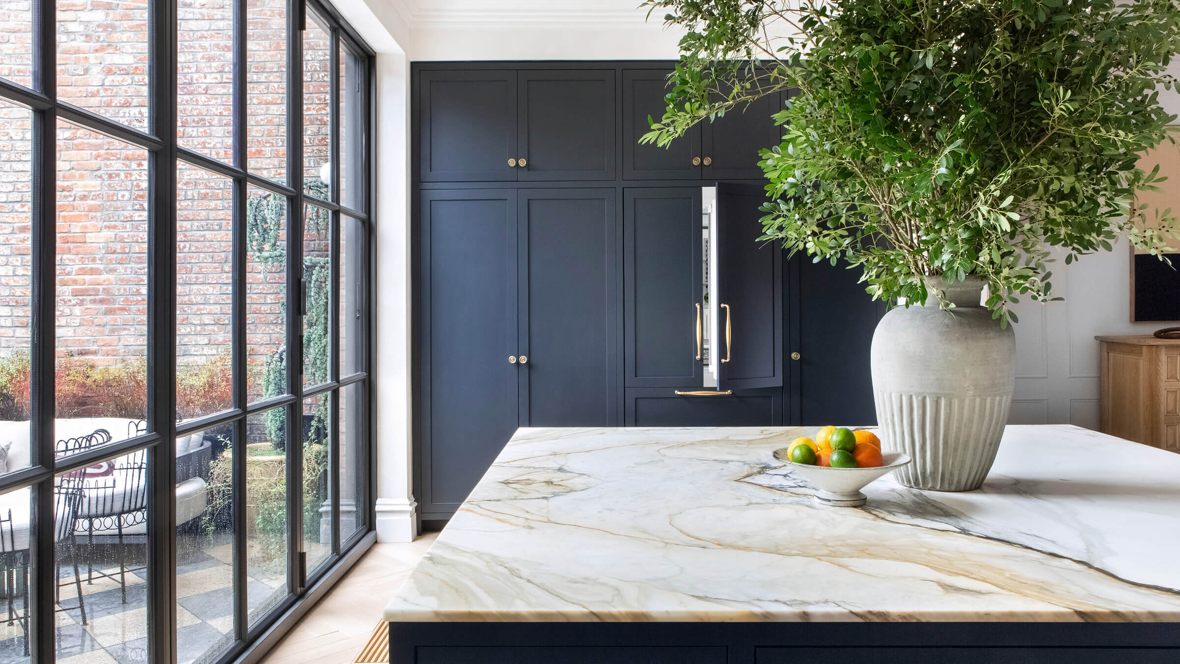 Brooklyn Brownstone Kitchen and Large Black French Doors