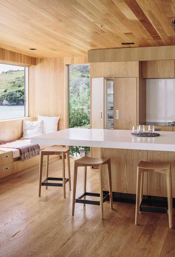 The Scandinavian-Style Oak Interiors of Hahei House's Kitchen.
