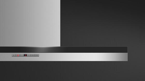Front View of Stainless Steel Contemporary Style Range Hood.