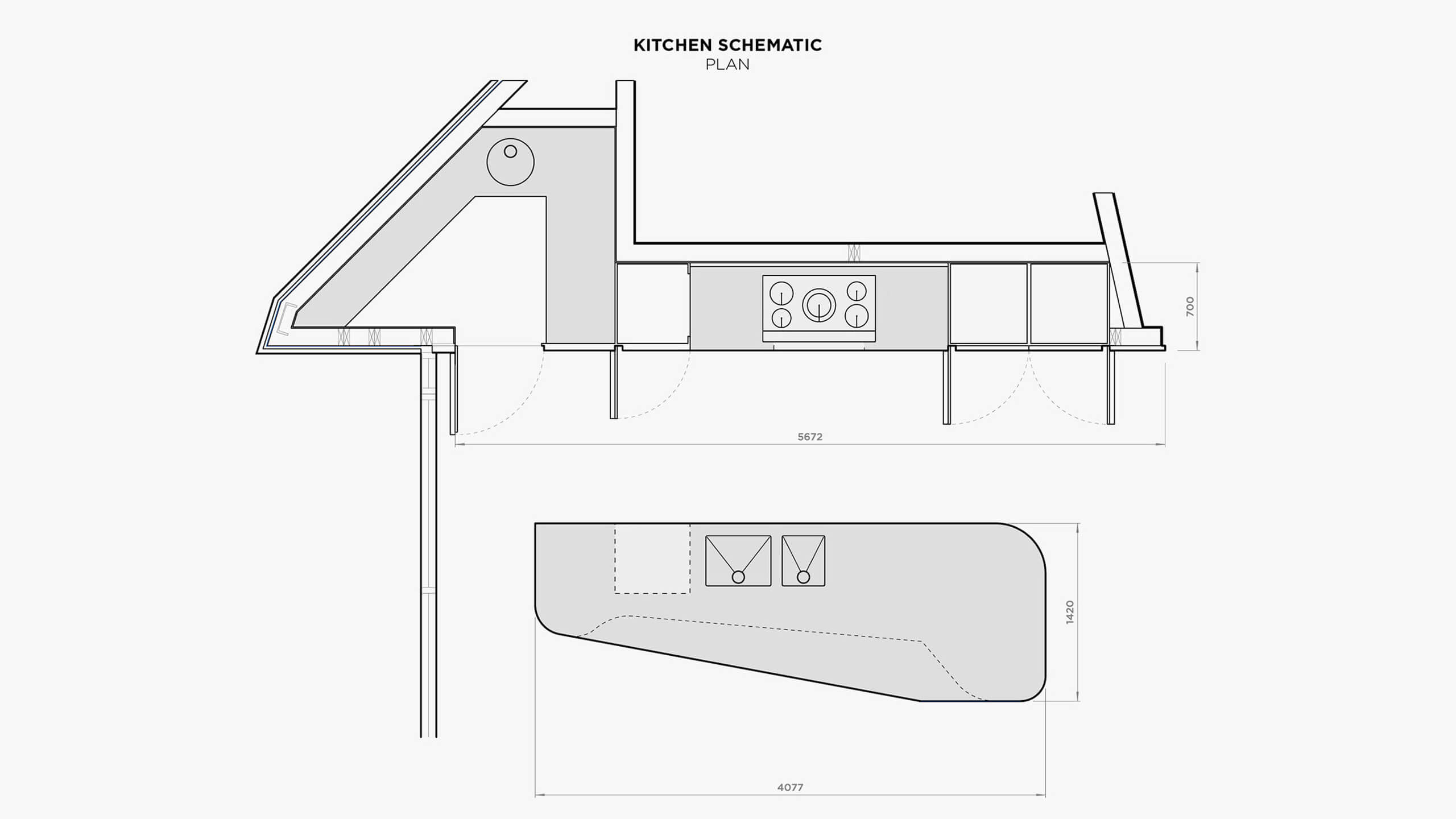Headland House Kitchen Schematic Plan.