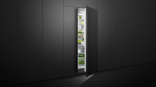 Open Ingerated Refrigerator Set in Black Cabinetry.