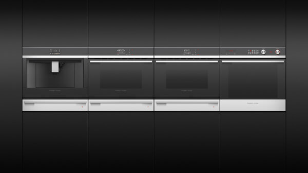 Four Companion Appliances Placed Side-by-Side in Black Cabinetry.
