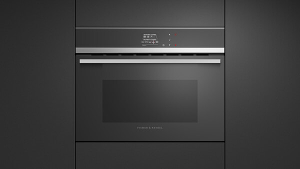 Built-in Convection Speed Oven Set into Black Cabinetry.
