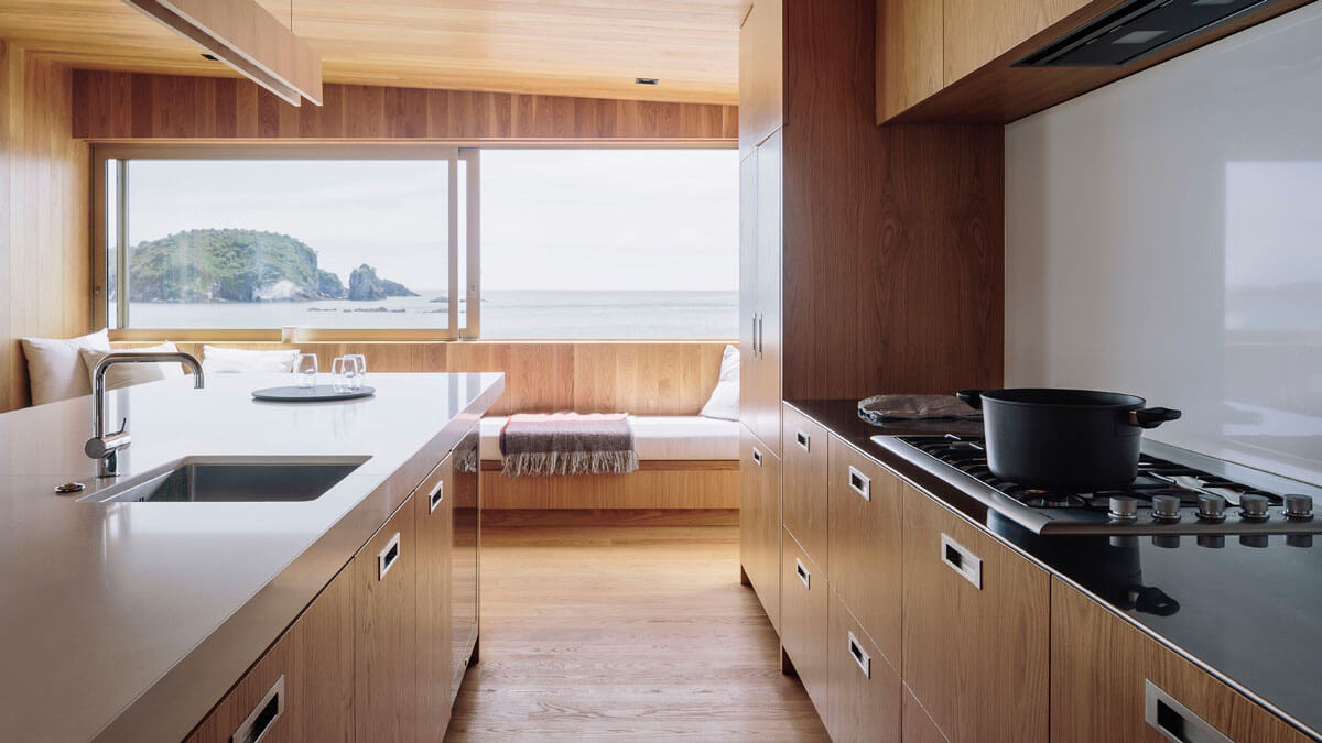 Hahei House Kitchen with Coastal View.