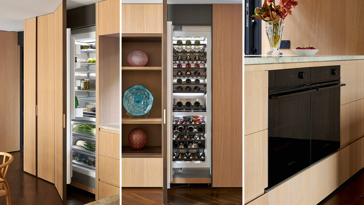 Three portrait images of the Herne Bay Town Houses integrated open doored refrigerator, an open doored fully stocked wine cabinet and a black oven.