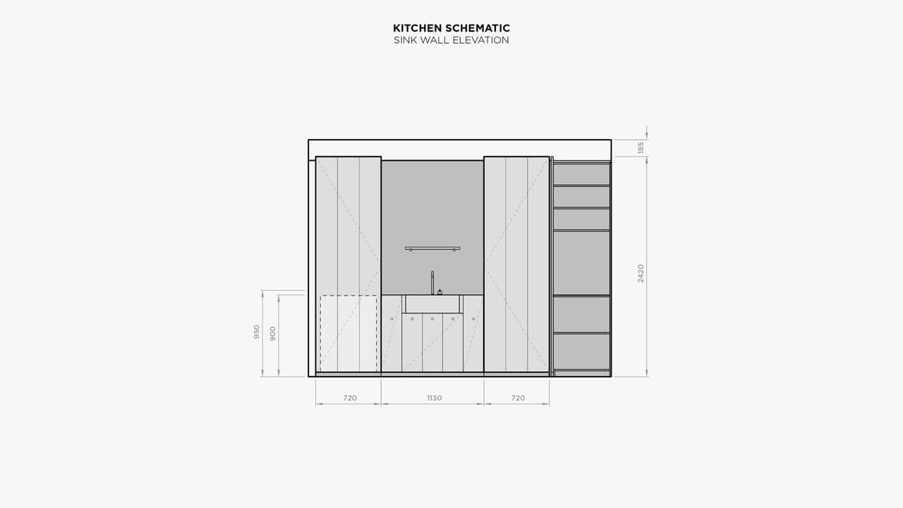 Carole Whiting's Kitchen Schematic Sink Wall Elevation.