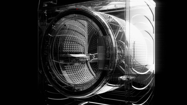 Close-Up 3D Render of Washing Machine Transparent Cross Section