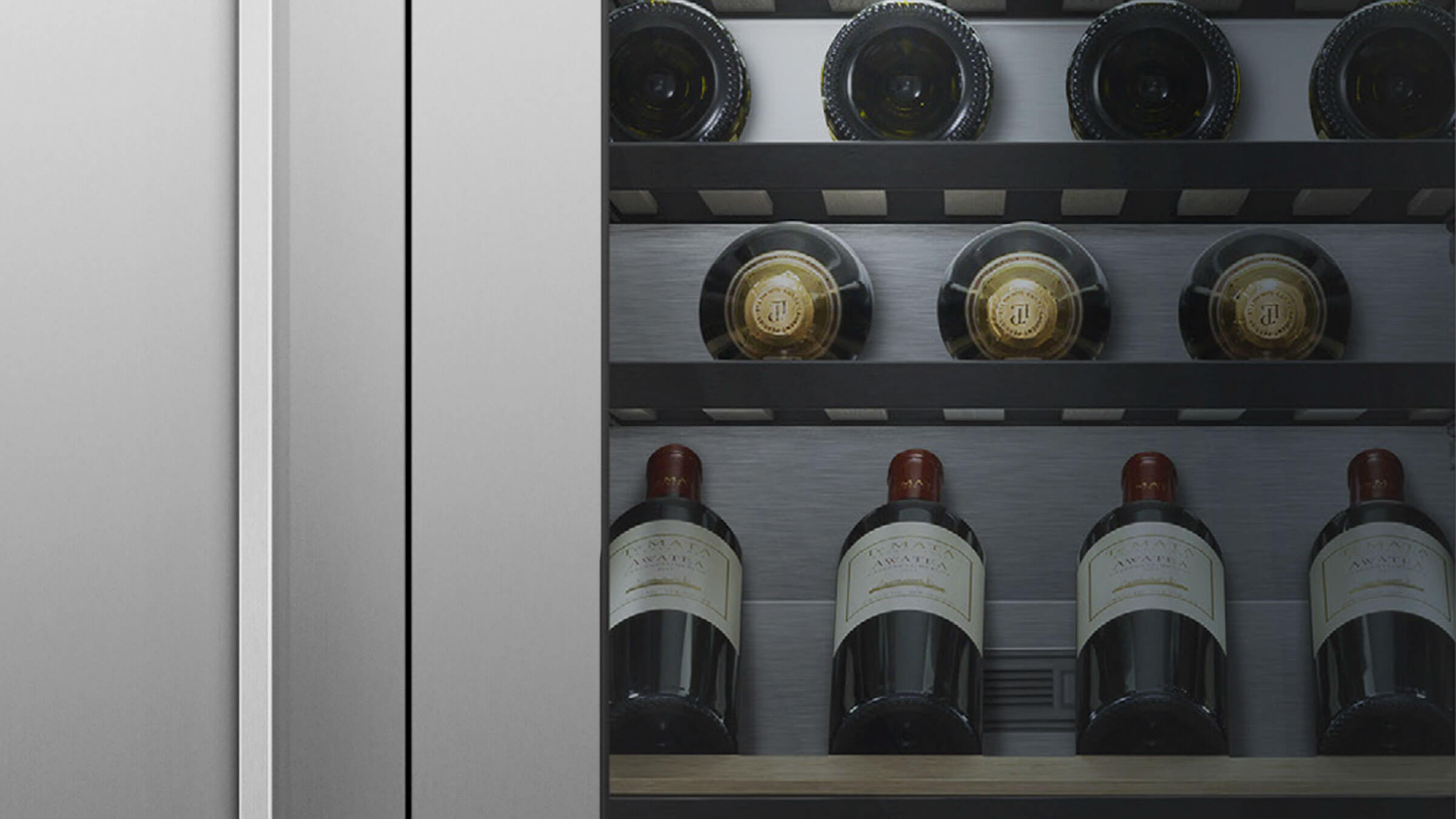 Close Up of Wine Bottles on Wine Column Shelves