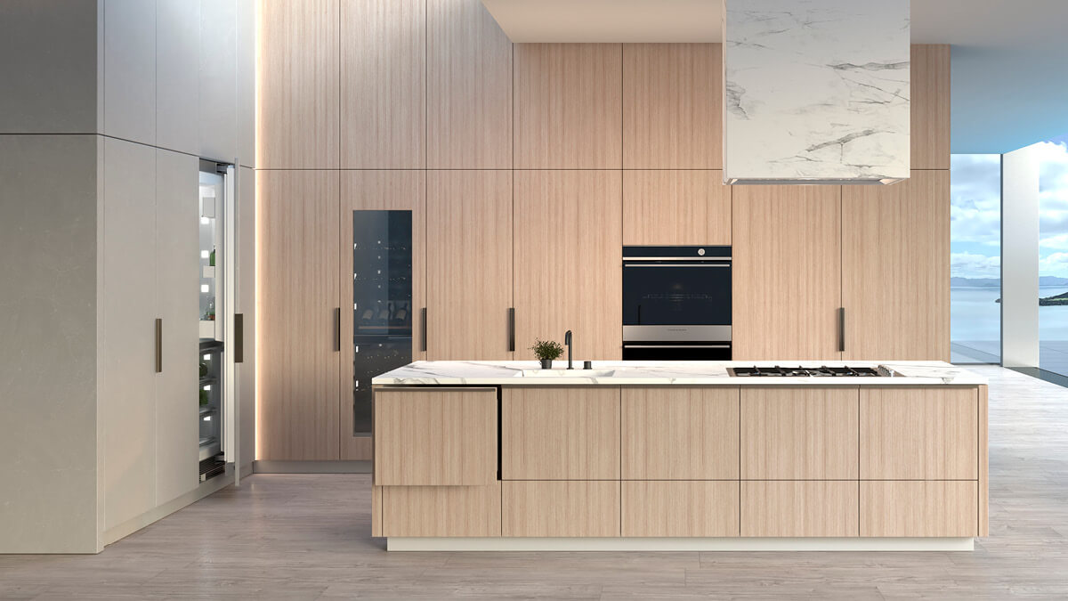 Wood Panelled Kitchen with Integrated Fisher & Paykel Appliance Suite.