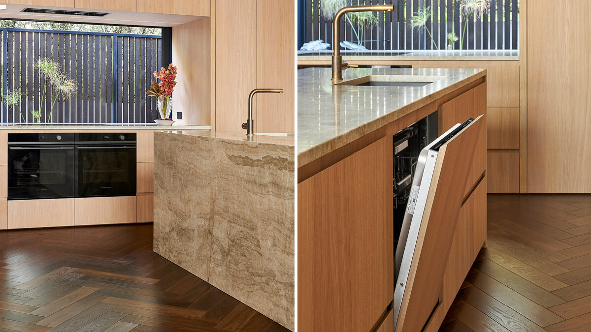 Two portrait images of the Herne Bay Town House Kitchen from the different sides of the Island block.